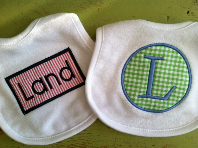 Gingham or Seersucker Applique Bib-baby, bib, monogram, applique