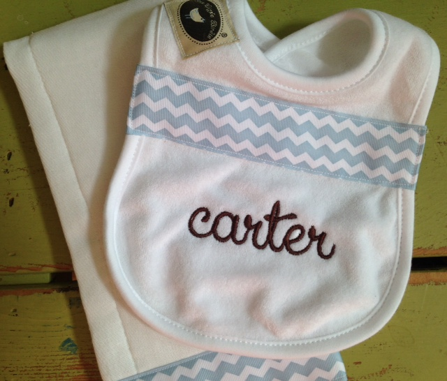 Blue Chevron Set-bib, burpie, monogrammed, personalized, boy, chevron