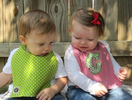 Christmas Bib - Green Polka Dots & Red Polka Dots Reverse-