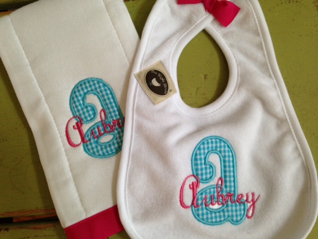 Applique Initial Bib & Burpie Set - Girl-bib, burp cloth, applique, boy, girl