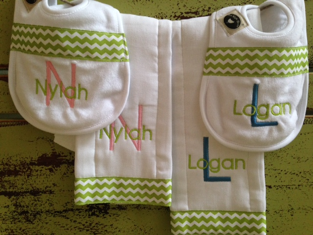 Green Chevron - NEW!-bib, burpie, monogrammed, personalized, boy, chevron
