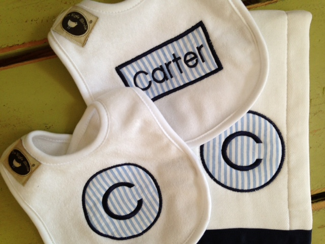Applique Two Bib Burpie Set - Boy-baby, bib, burpie, monogrammed, boy, girl