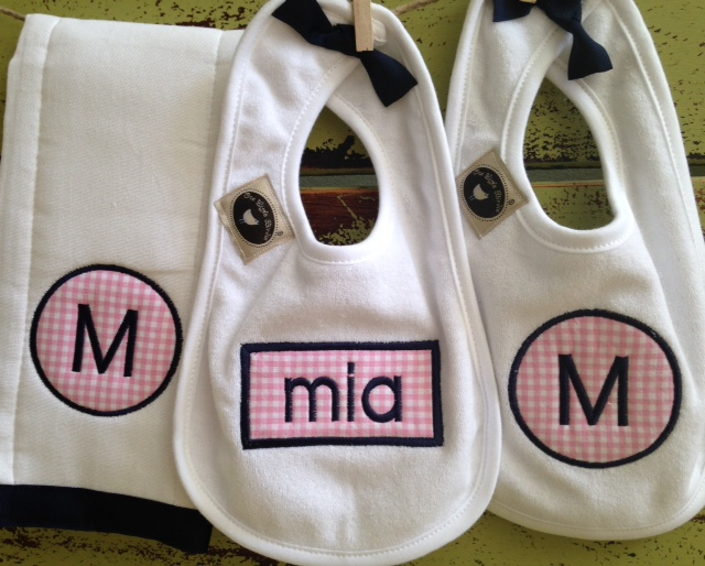 Applique Two Bib Burpie Set - Girl-bib, burpie, baby, toddler, applique, monogram