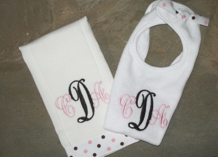 Chocolate and Pink Dots Set-bib, burp cloth, girl, monogrammed