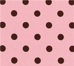 Fabric - Pink Chocolate Polka Dots-