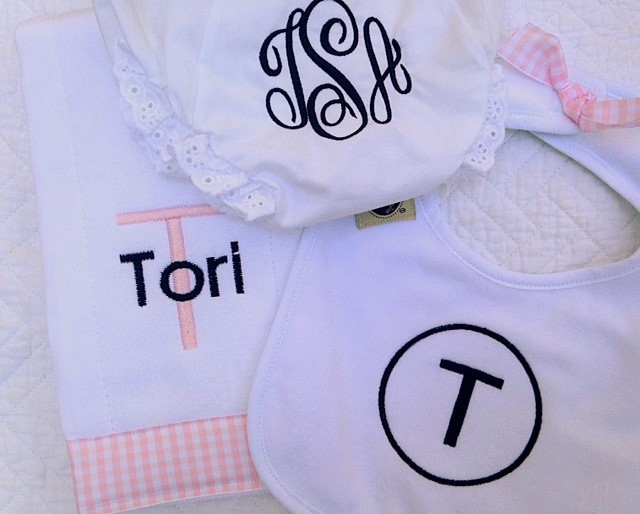 Baby Pink Gingham Set - NEW!-baby, bib, burpie, monogrammed, personalized, gingham
