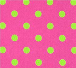 Fabric - Pink Green Polka Dots-