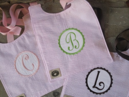 Bib - Seersucker with Rickrack Applique - Pink-