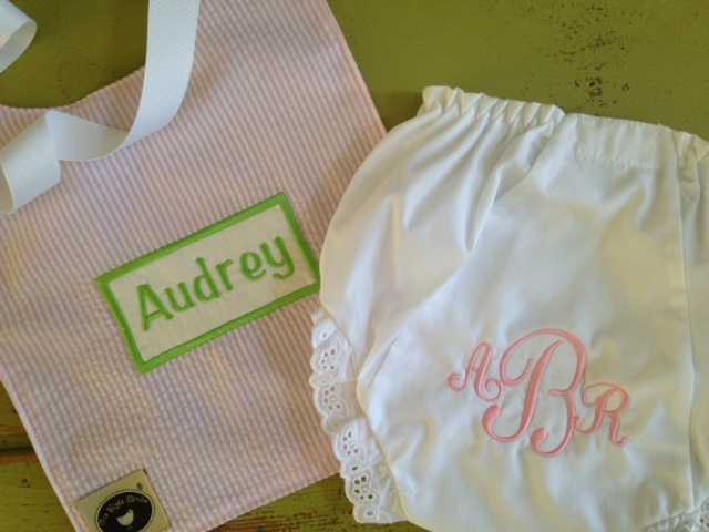 Bloomers and Toddler Bib Set-monogrammed, baby, toddler, child, bloomers, bib