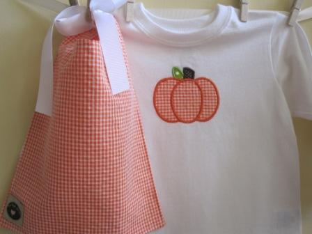 Pumpkin Shirt-pumpkin applique, orange gingham