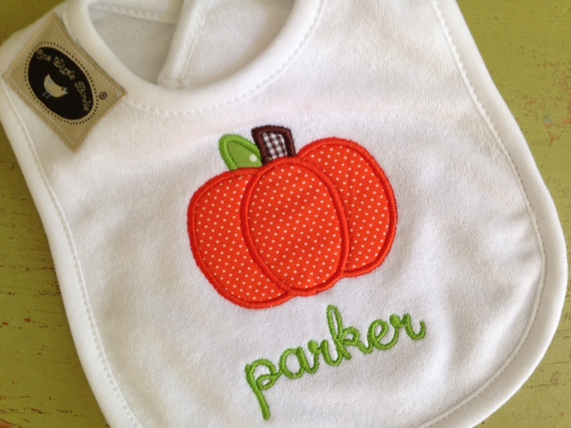 Pumpkin Bib-bib, baby, infant, toddler, pumpkin, applique, monogrammed