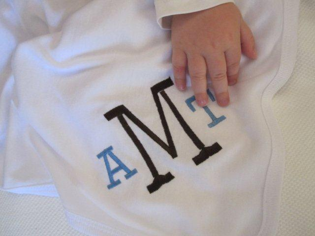 Monogrammed Receiving Blanket-blanket, monogrammed, girl, boy, baby
