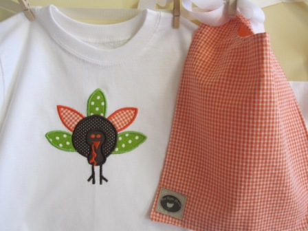 Turkey Shirt-turkey applique, infant onesie, toddler t-shirt, monogrammed, personalized
