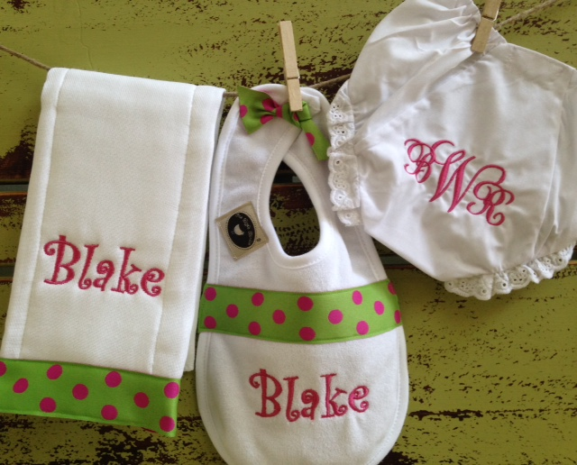 Bib & Burpie Set with Bloomers-bib, burp cloth, bloomers