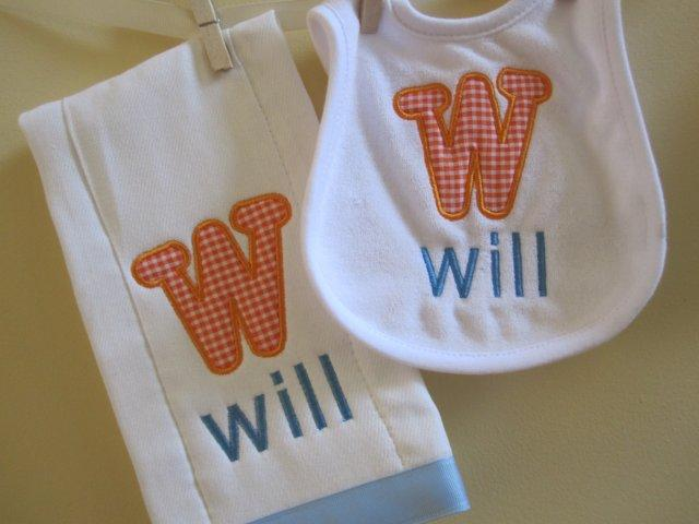 Applique Initial Bib & Burpie Set - Boy-bib, burp cloth, applique, boy, girl